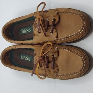 Bass tan leather upper boat shoes  size five and a half M